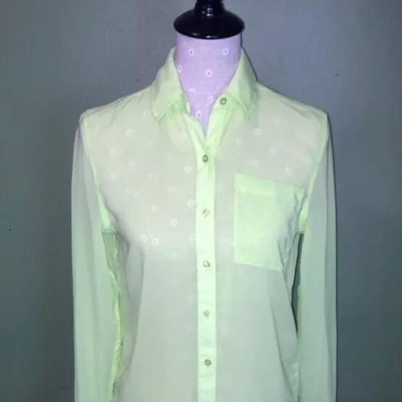 fa08dea5 Aeropostale Tops | Green Sheer Buttondown Shirtsmall | Poshmark
